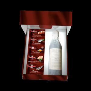 Estuche gourmet tienda conservas Pescamar con botella de vino